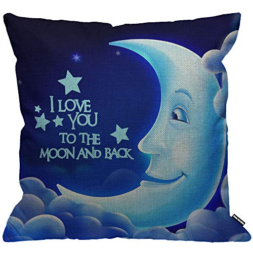 HGOD DESIGNS Cushion Cover Quotes I Love You The Moon And Back Letter With Smile Moon Throw Pillow Cover Home Decorative for Men/Women/Boys/Girls living room Bedroom Sofa Chair 18X18 Inch Pillowcase