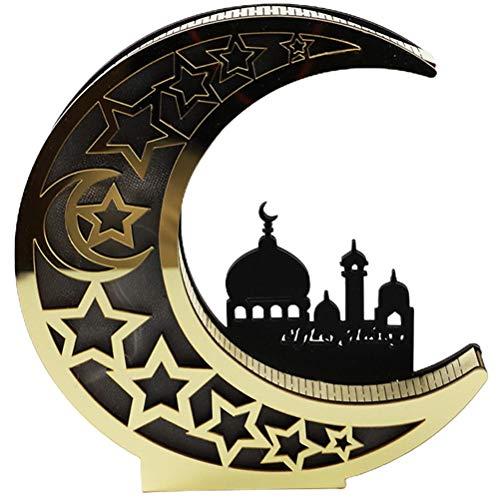 BSTQC Eid Crafts Night Light,Moon Hollow Lamp,Wood Eid Mubarak LED Lights for Ramadan Decoration