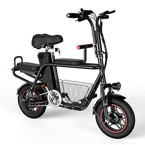 Hxl Bicicleta Eléctrica Plegable Pedal Auxiliar Bicicleta Tándem Motor Ligero y Portátil de 350w Equipado con Batería de Litio Extraíble 48v 8ah Neumáticos de 12 Pulgadas,Negro,8AH 35KM