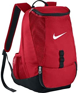 Men's Club Team Swoosh Soccer Backpack with rain flap for secure storage, large dual zip compartment Perfect for Sports and School (Red)