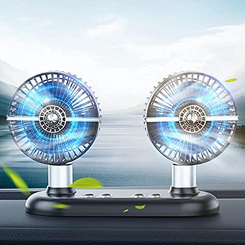 KUMADAI Ventilador Coche USB, Doble Cabeza Ventilador Coche Sacudida Automática de la Cabeza de 180° Ventilador para Coche Aire Frio 3 Velocidades Ventilador Bajo Consumo para Coche SUV,Negro
