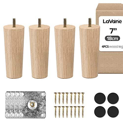 7 Zoll / 18cm Holz Tischbeine, La Vane 4 Stück Massivholz Konisch Ersatz Möbelfüße Möbelbeine mit vorgebohrten M8 5/16