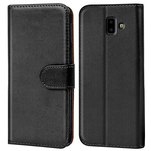 Verco Galaxy J6+ Hülle, Handyhülle für Samsung Galaxy J6 Plus Tasche PU Leder Flip Hülle Brieftasche [6 Zoll] - Schwarz