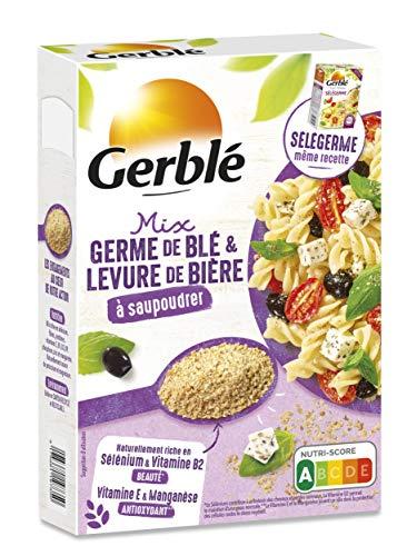 Gerblé Saupoudrage, Mix Germe de blé et Levure de bière à saupoudrer, Super-aliment, Source naturelle de Sélénium et de protéines, Riche en Vitamine E, 1 Boîte, 22 Portions, 220g, 207407