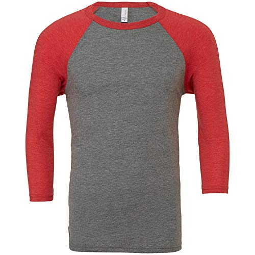 Camiseta de béisbol para hombre con manga de 3/4 Gris Grey/Light Red Triblend Large