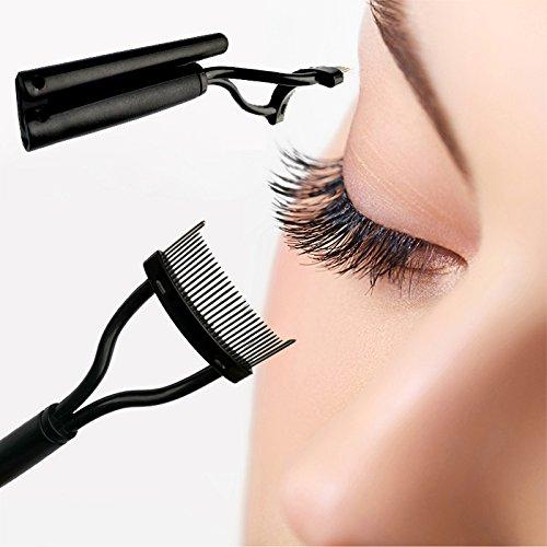 Pliable Peigne Brosse Pinceau de Maquillage en Inox pour Cils Sourcils Outil Cosmétique - Noir