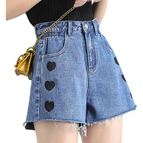 Pantalones Cortos de Mezclilla para Mujer, Pantalones Cortos de Mezclilla de Cintura Alta Sueltos y Finos, Pantalones Cortos de Mezclilla de Pierna Ancha con Bordado Personalizado de Estilo Nuevo XL