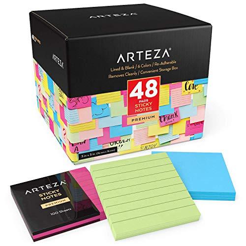 """Arteza Notas adhesivas de 76 x 76 mm , (3x3""""), paquete de 48 tacos, 24 con líneas y 24 en blanco, 6 colores, 100 hojas por taco, posits de colores surtidos a granel para oficinas, hogares y colegios"""