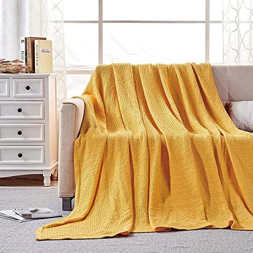softan 100% puro cotone, coperta e copriletto extra morbida e accogliente in tessuto a nido d'ape, letto singolo, 150 x 200 cm, colore: giallo