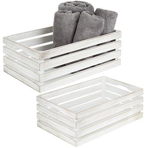 MyGift Vintage Whitewash Wooden Nesting Storage & Accent Crates, Set of 2