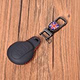 HEZHOUJI Autoschlüssel Hülle, Leder Autoschlüssel Tasche Fall Abdeckung, Remote Key Dekoration, für Mini Cooper F54 F55 F56 F57 F60,Schwarze rote Fahne
