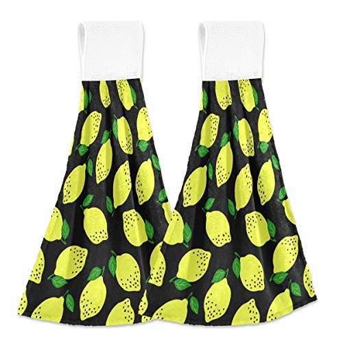 Toallas colgantes de cocina 2 piezas – Limón Frutas Colgantes de Terciopelo Coral Suave Super Absorbentes Toallas de Mano para Baño