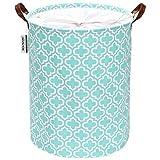 Sea Team Cesto lavandería con diseño Cuatro Hojas, cesto lavandería de Tela Lona, contenedor de Almacenamiento Plegable con Asas Cuero sintético y Cierre de cordón, 50 x 40 cm, Interior Impermeable