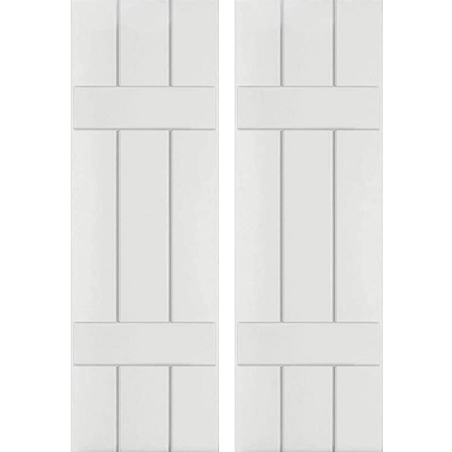 Ekena Millwork CWB12X025PRC Exterior Three Board Composite Wood Board-N-Batten Shutters with Installation Brackets (Per Pair), Primed, 12