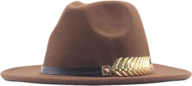 Lady Fashion 5 popular Wide Brim Attention brand Felt Fedora Cla Hat Ring Belt Panama with