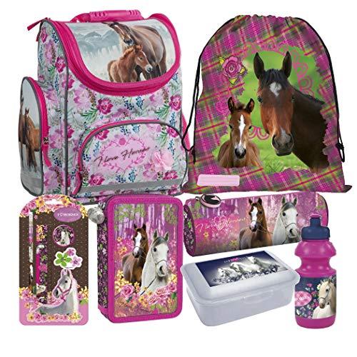 Pferd Pony Horses 10 Teile Set Schulranzen RANZEN FEDERMAPPE mit Sticker von Kids4shop Tasche TORNISTER