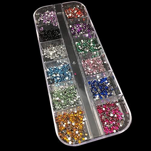 Meiyy nageldecoratie 3000 stuks/doos 1,5 mm strass nail decoratie rond kleurrijke glitters met tent DIY Mini Nail Art decoraties meerkleurig