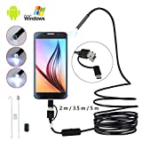 USB Endoscope 3 in 1 Borescope USB/Micro USB/Type-C Waterproof Inspection Snake Camera with 6 LED Lights for Android,Samsung,MAC,Laptop,Windows (5m)