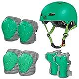 LANOVAGEAR Casco Infantil Set de Protección Casco Protección Patinaje 2-8 años Ajustable Rodilleras Coderas y Muñequeras para Patinaje Ciclismo Monopatín Skateboard (Verde, S)