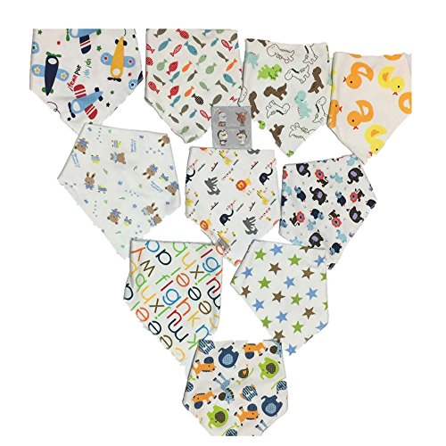 Starkma Bandana Baby Bibs Cute Unisex for Boys 100% Cotton 10 Set