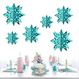 Winter Wonderland Snowflakes Party Decorations 3D Card Hanging Paper Centerpieces for/Birthday/Christmastree/New Year/Baby Shower/Wedding Party/Shopwindow Supplies (Pearl Ice Blue)