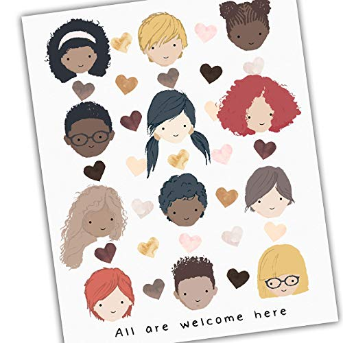 "All Are Welcome Here Diversity Art for Kids Diverse Kids Art CUSTOMIZE with Your Own Quote Promote Unity Celebrate Diversity UNFRAMED Poster 8x10"" 11x14"" 16x20"" 24x36"""