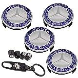 9PCS 75mm Blue Wheel Center Hub Caps for Mercedes Benz, 4PCS Car Tire Valve Air Caps+1PC Key Chain + 4 Valve Caps Fit for Series C ML CLS S GL SL E CLK CL GL Center Cap