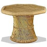 UnfadeMemory Mesa de Centro,Mesita Café,Mesa de Sofá,Mesa Auxiliar,Mesa para Teléfono o Planta,Decoración de Hogar,Bambú y Yute Natural (Octagonal-60x60x45cm)