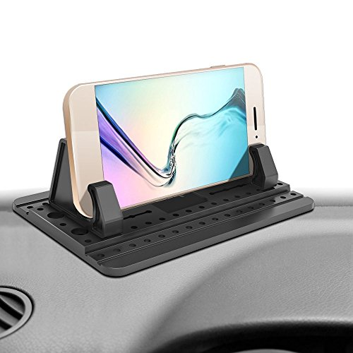 Ipow Non-slip Dashboard Mat with 5 Sticky Gel Pads Universal Silicone Car Cradle Holder Stand Compatible with iPhone X/8(Plus)/7(Plus)/6s/Galaxy S8 S7 S6,Huawei