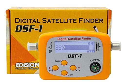 Edision Satfinder DSF-1 digitales Sat Messgerät mit LCD-Display und F-Anschlusskabel (SDTV, HDTV, Kompass) orange
