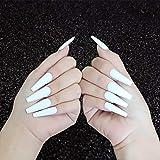 Handcess Coffin Mate Uñas postizas Bailarina blanca larga Presione en las uñas Color puro Cubierta completa Uñas postizas en las uñas para mujeres y niñas