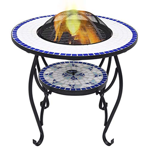 Festnight Mosaic Fire Pit Table, with a Three-leg Stand, Round Tabletop for Placing Drinks and Roasting Supplies, for Garden or Patio Decor, Blue and White 68 cm Ceramic