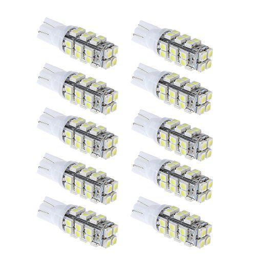 PolarLander 10pcs Car LED T10 W5W 28SMD 3528 1210 Lampe à Lampe à lumière Large DC12V