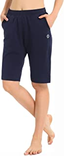 Spowind Women's Active Yoga Workout Bermuda Shorts,Gym Fitness Long Shorts with Pockets