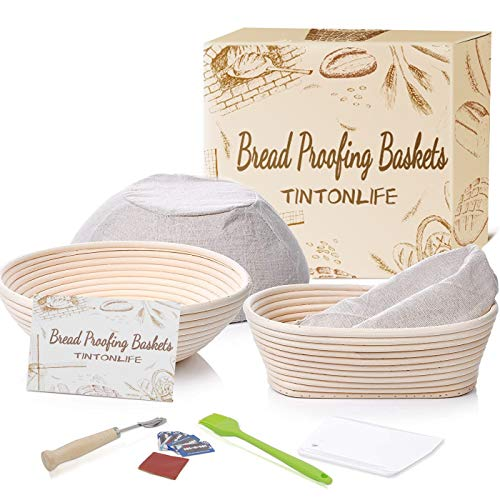 Tintonlife 11 Piece Banneton Proofing Bread Basket 9 inch Round 10x6x4 inch Oval Sourdough Baking Set | Lame Dough Bowl Scraper Bread Bag | Perfect Making Artisan Homemade Bread