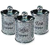Heall Tov Diamante machacado té CFEE azúcar Botes jarras de Almacenamiento de Plata Pasamanería de Cristal Lleno índice Suministro