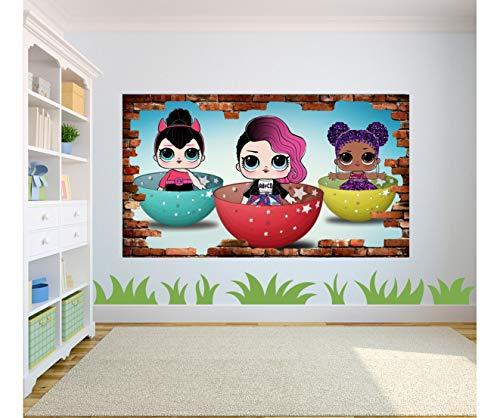 3D LOL Surprise Puppe Vinyl Poster zerbrochene Wand Effekt Schlafzimmer Aufkleber Kinder, Vinyl, mehrfarbig, 90 x 65 cm
