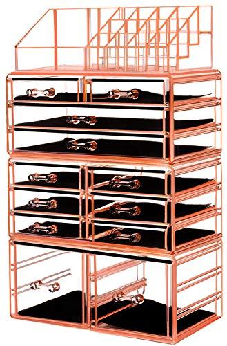 "HBlife Makeup Organizer Acrylic Cosmetic Storage Drawers and Jewelry Display Box with 12 Drawers, 9.5"" x 5.4"" x 15.8"", 4 Piece, Orange"