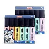ZEYAR Highlighter Pastel Colors Chisel Tip Marker Pen, Assorted Colors, Water Based, Quick Dry(2 Sets Macaron)
