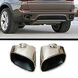 Autohobby 27 Lot de 2 pots d'échappement en acier inoxydable chromé pour X5 E70 2006-2013 X5 E53 2000-2007