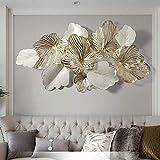 Creative Handmade Metal Wall Art Leaves'Golden Flower Blooming', Modern Light Luxury Style Kitchen Nature Home Art Decoration for Living Room Bedroom Artwork Hotel Decor Indoor Gifts …