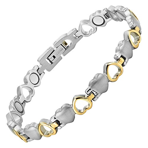 Willis Judd Womens Love Heart Titanium Magnetic Bracelet Adjustable