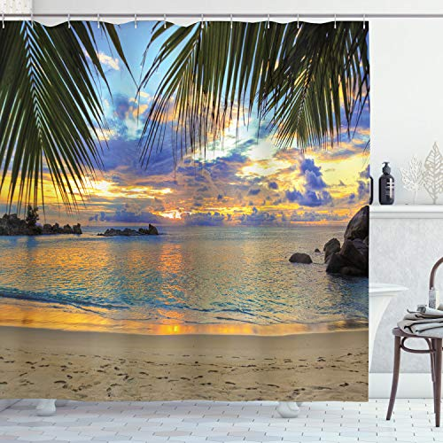 Ambesonne Coastal Shower Curtain, Sunset at The Beach Rumbling Ocean Palm Trees Travel Locations Picture, Cloth Fabric Bathroom Decor Set with Hooks, 84