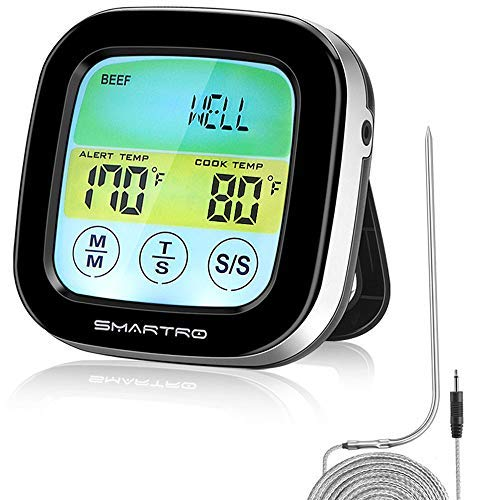 SMARTRO ST59 Digital Meat Thermometer for Oven BBQ Grill Kitchen Food Cooking with 2 Probes and Timer