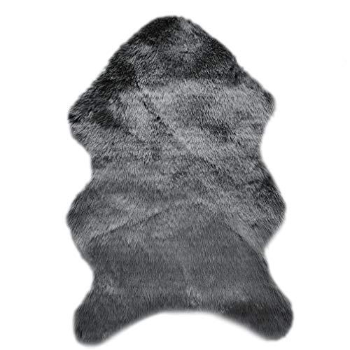 Alfombra de piel de oveja sintética, 60 x 90 cm, pelo largo, imitación de lana de oveja, alfombra de sofá, alfombra de salón, alfombra de peluche muy suave, color gris