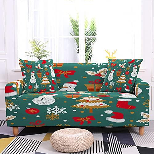 WXQY Funda de sofá Flexible Papá Noel patrón de muñeco de Nieve Funda de sofá a Prueba de Polvo Funda Protectora de Muebles Funda de sofá A6 2 plazas