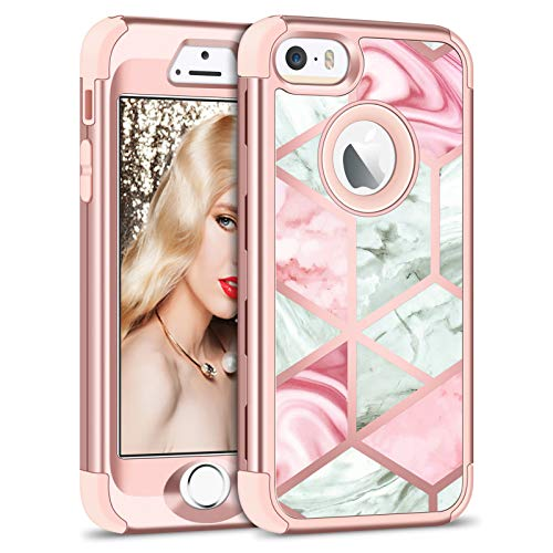 Vofolen Case for iPhone SE Case iPhone 5S Case Glitter Bling Shiny Heavy Duty Protection Full-Body Protective Cover Hard Shell Hybrid Silicone Rubber Armor + Front Bumper for iPhone 5 5S SE Marble