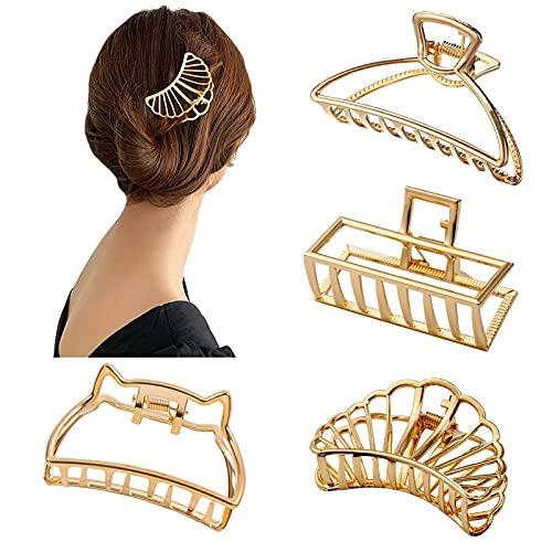 4 Stück Metall Haarklammern Groß Haarspangen Damen Geometrische Haarclips Schale Bowknot Haarnadeln Vintage Metall Haarschmuck Kopfschmuck für Mädchen Damen Haarstyling (Gold)