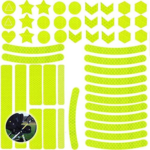 Ouceanwin 55pcs Reflektoren Aufkleber Sticker, Reflexfolie Selbstklebend, Sicherheit im Dunkeln, Hochreflektierend und Wasserfest Reflektor Band für Kinderwagen Fahrrädern Helmen Rucksack