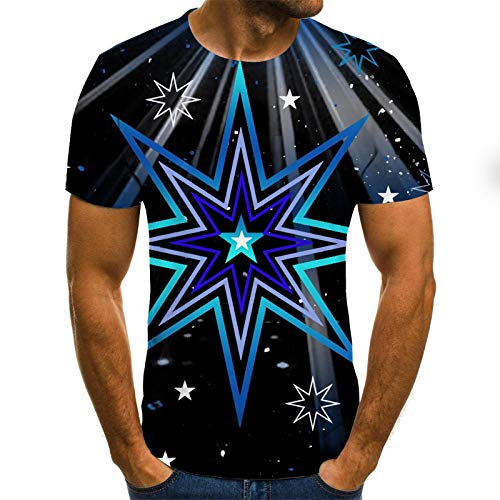 Blue and White Reflections Camisetas 3D Hombre Anillo Estrella de Cinco Puntas Impresa Camiseta Masculina 3DT Camiseta Manga Corta Cuello Redondo impresión Digital Casual Manga Corta-Color_5XL